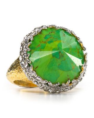 Alexis Bittar Crystal Gold Crowned Mojave Ring