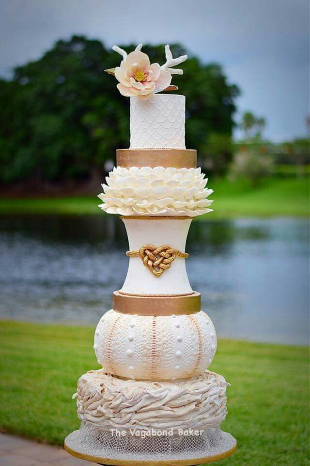 Gold & Ivory Sea Shells Themed Wedding Cake
