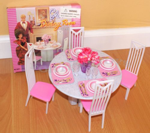 Barbie Dining Room Set: Gloria Furniture Size 4 Chairs Dining Room Table Play Set