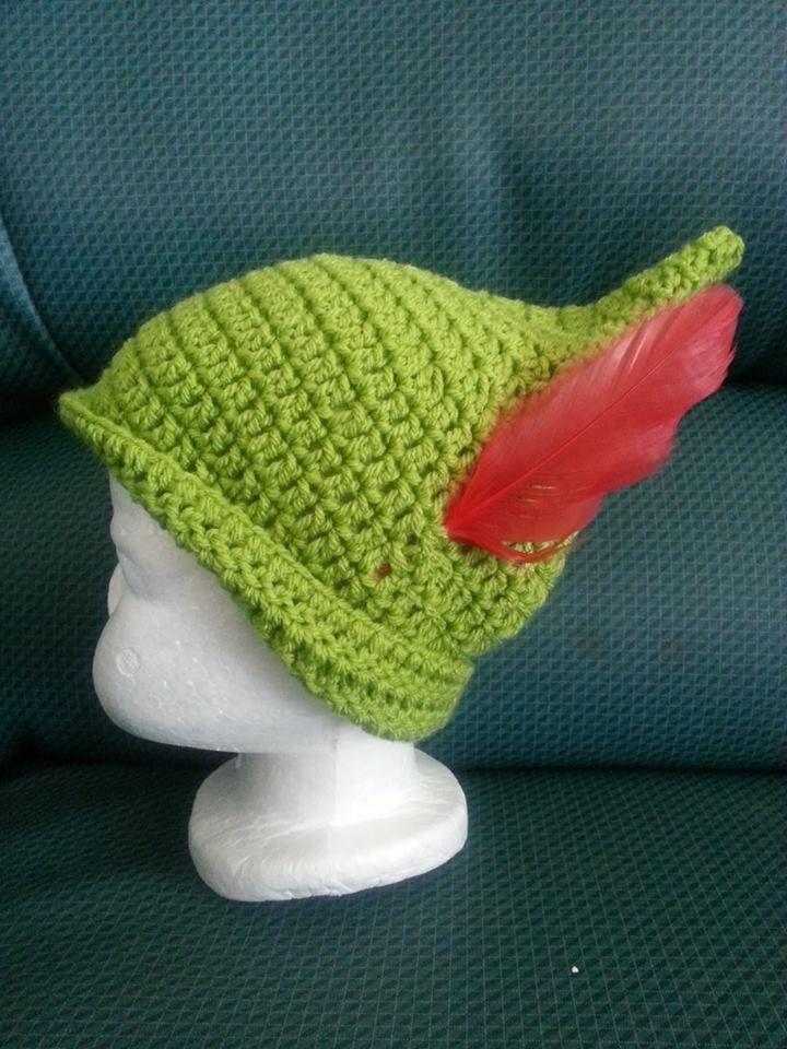 Crochet Peter Pan hat. Tutorial: https://www.youtube.com/watch?v=0a6SPo0xW8k