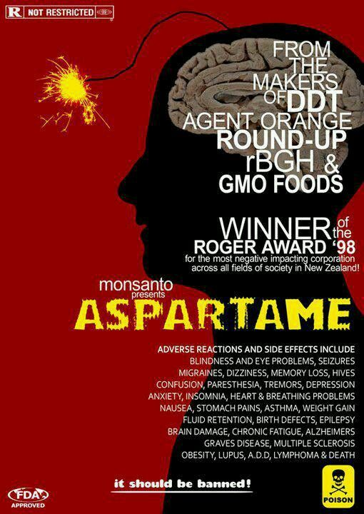 """hazardous health risk aspartame Aspartame """"diet coke does not contain nasty chemicals it contains lovely and delicious carbonation, caffeine, and aspartame what's unnatural about that."""