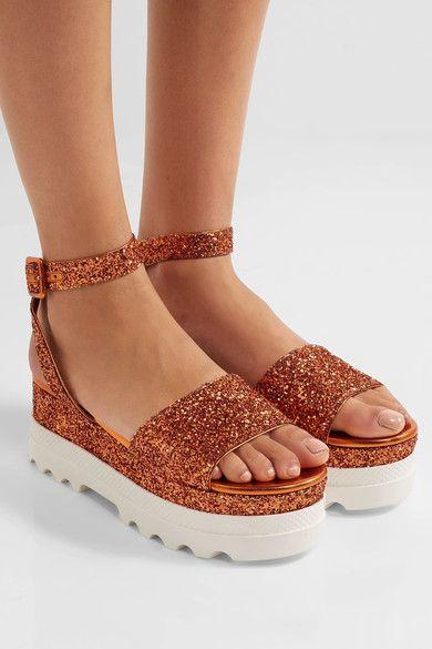 Miu Miu - Glittered Leather Platform Sandals - Orange - IT35.5