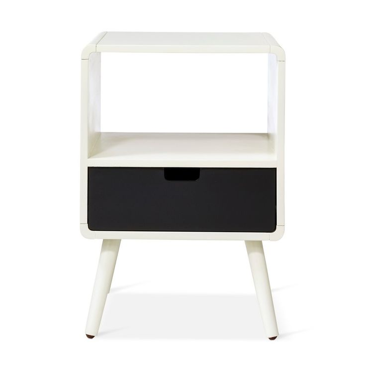 1 Drawer Mid-Century Kids Nightstand - Black - Pillowfort, Ebony
