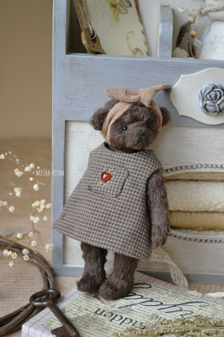 Teddy Bear Girl In Dress Country Toy Home Decor Stuffed Bear Toy Artist Teddy Bears 刺繍