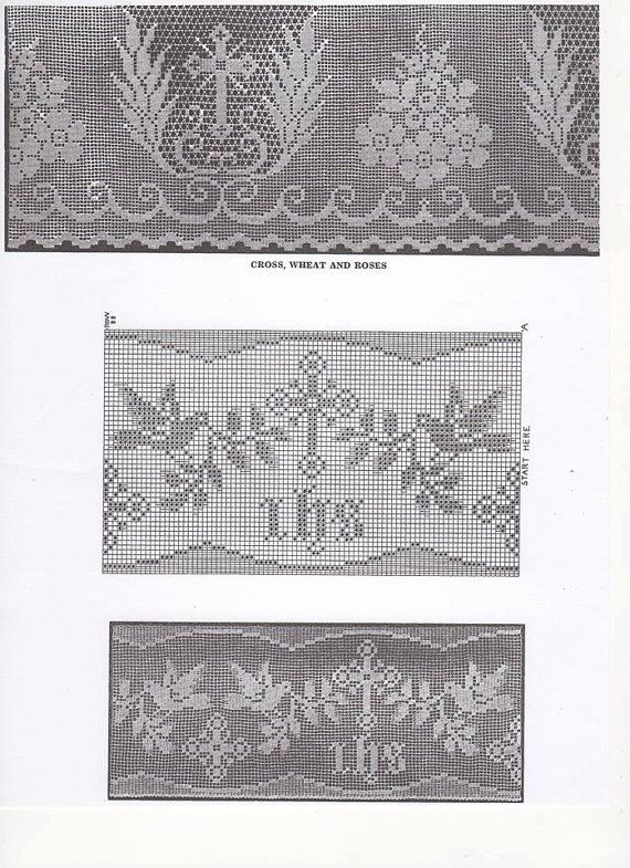 Crochet Lace Pattern for Church Linen, Church Crochet, Church Linen, Wide Altar Cloth Lace, Shaw Filet Cross, Cross and Star Edging