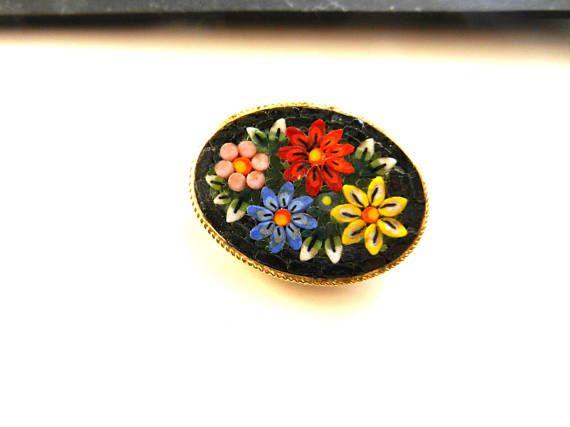 Antique Italian Micro Mosaic Black Oval brooch  1950s