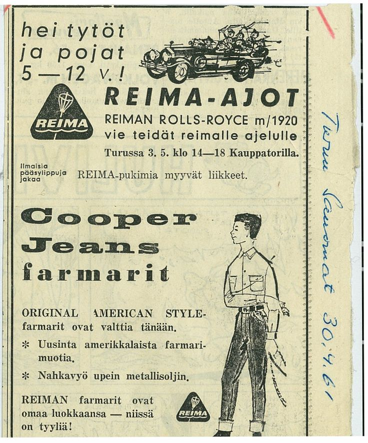 Ad from April 30th in 1961. Reima Rolls-Royce used to give kids a ride around town. #Reima70 #1960s
