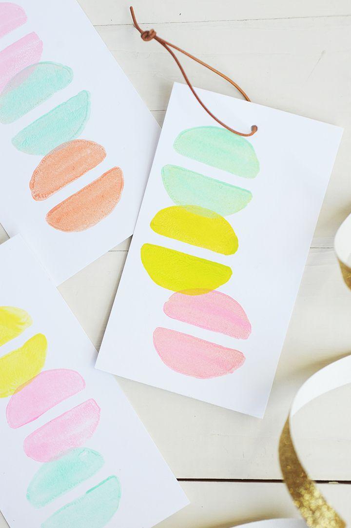 Make these DIY Macaron Stamp Gift Tags / aliceandlois.com