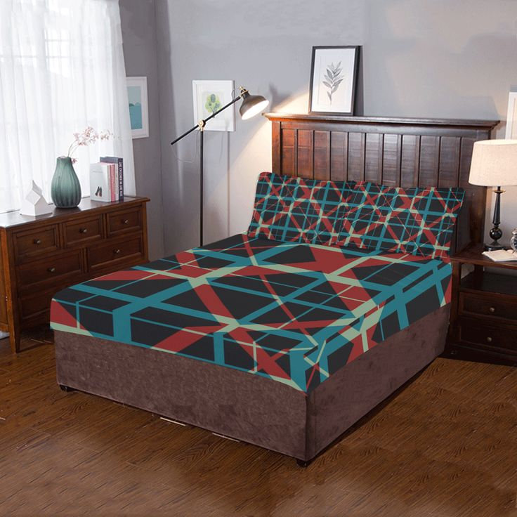 Classic style plaid pattern 3-Pieces Bedding Set by  Scar Design. #bedroom #bedroomset #duvet #quilt #beddingset #3piecesbedroomset #pillowcases #bed #home #homedecor #classicstyle #artsadd #scardesign #onlineshopping #shopping #family #style #39 #art #design #colorful #classic #plaid #pattern #gifts #giftsforhim #giftsforher #quiltcover  #bedding