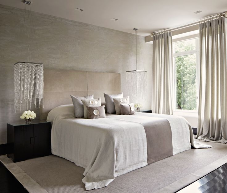 love these bedside chandeliers