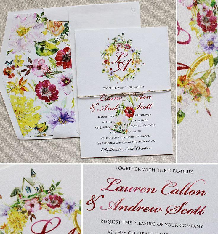 30 best monogram custom crest invites images on pinterest laura c watercolor monogram wreath wedding invitations stopboris Gallery