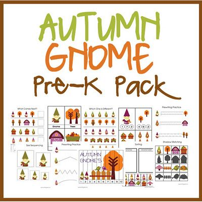 FREE!!  Included in this Pre-K Pack is:    Prewriting Practice Sheets - Cutting Practice - Which one is different?  Finish the Pattern Sheet - Size Sequencing Sheet - Gnome Strip Puzzle  4-piece Puzzles - Sorting Practice - Counting Practice Cards - Color the Gnome  Letter and Sound Finding Cards - 3-Part Vocabulary Cards - Shadow Matching