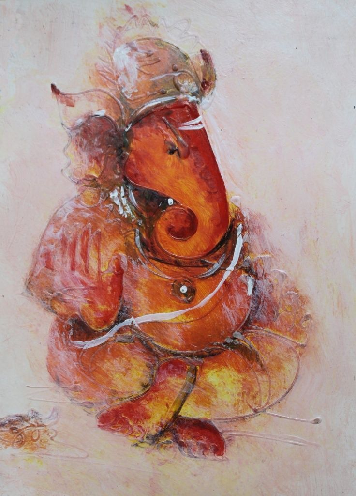 Lord Ganesha06 - 9in X 12in,ART_AAGE011_912,Acrylic Colors,Rolled Paper ,Museum Quality - 100% Handpainted,God,Ganesha,Ganapati - Buy Painting Online in India