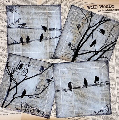 tea stained newspaper with silhouette birds