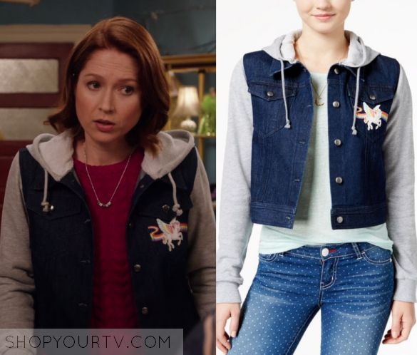 "Unbreakable Kimmy Schmidt: Season 3 Episode 4 Kimmy's Unicorn Jacket | Shop Your TV Kimmy Schmidt (Ellie Kemper) wears this blue denim jacket with grey hood and sleeves and unicorn patch print in this episode of Unbreakable Kimmy Schmidt, ""Kimmy Goes to College!"".  It is the Lisa Frank Juniors' Unicorn Patch Hoodie Denim Jacket."