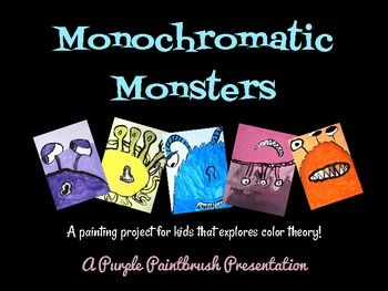 art lesson for kids monochromatic monster painting a lesson on color theory