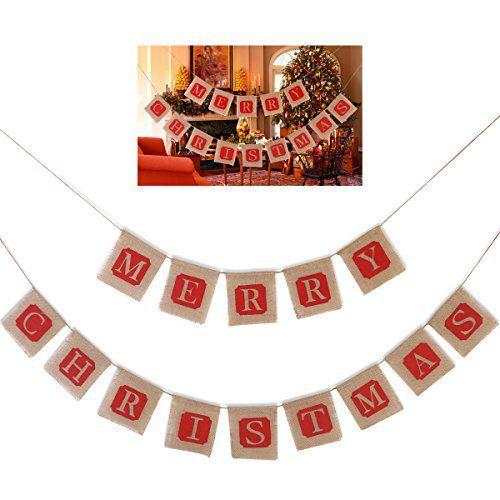 OULII Joyeux Noël Jute Burlap bannières guirlandes pour la décoration de vacances de Noël: Description Cet item est une bannière de buralp…