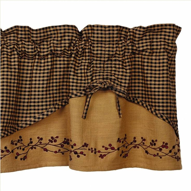 "erry Scalloped Valance features a mini check scallop layer overlaying a berry vine embroidered natural homespun. Hemmed edges; ties can be adjusted. 100% cotton, measures 60""W x 16""L. Complete your country look with a Wrought Iron Rod #country #valance #curtains"