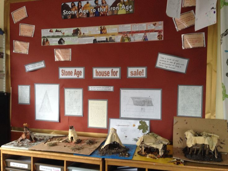 Stone Age display year 6. Includes dt houses and persuasive writing.