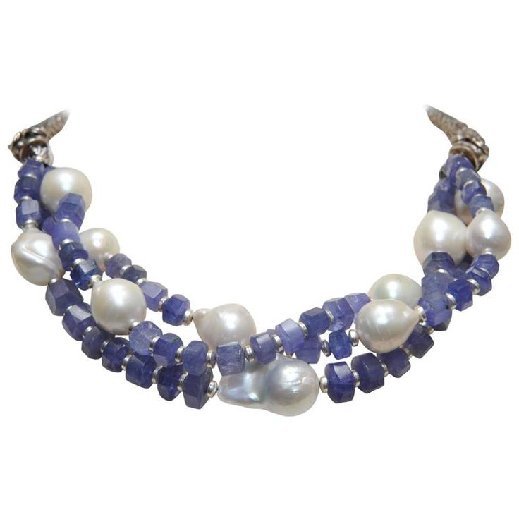 Triple Strands Necklace of Tanzanite, Baroque Pearl and Sterling Dragons | From a unique collection of vintage multi-strand necklaces at https://www.1stdibs.com/jewelry/necklaces/multi-strand-necklaces/