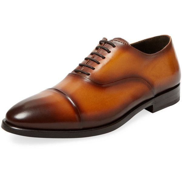 Antonio Maurizi Men's Leather Oxford Shoe - Light/Pastel Brown, Size... ($269) ❤ liked on Polyvore featuring men's fashion, men's shoes, men's dress shoes, mens brown dress shoes, mens brown leather shoes, brown mens shoes, mens cap toe dress shoes and mens brown oxford dress shoes