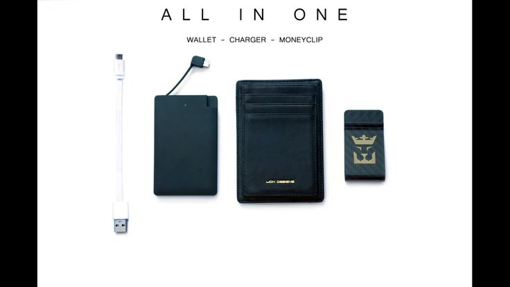 Lion Designs: Wallet w/ Carbon Fiber Clip & Portable Charger project video…