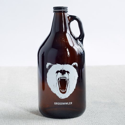 Grooowwler Glass Beer Growler for homemade brew or transporting your favorite beverage from the brewery.