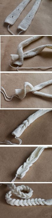 knitted braid. knit two pieces of cord, with one cast off in the center every 5 rows.