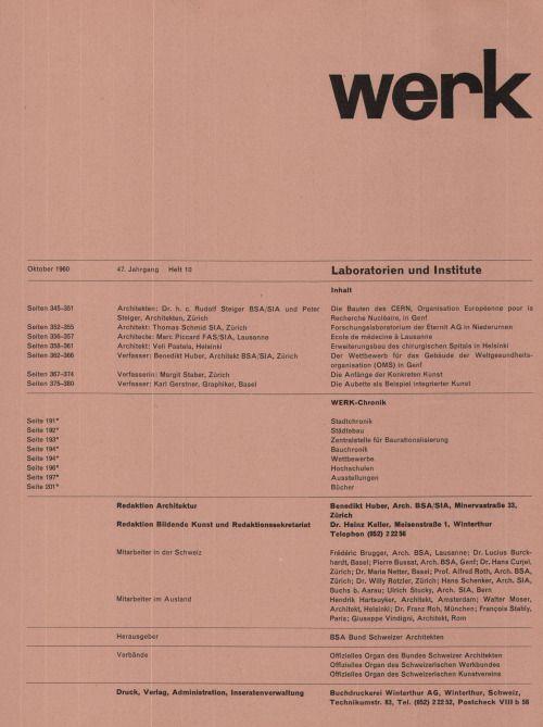 """jonasgrossmann:  aus """"werk"""" band 47, heft 10, 1960 @ seals"""