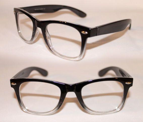 Nerd Brille Vintage Retro Klarglas 50er 60er Jahre schwarz transparent 781