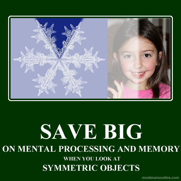 6 pictures that tell surprising stories: symmetry! Symmetry is beautiful. But why? Information processing theory claims it's because symmetry saves us efforts, memory, and attention. When you look at a symmetric face, your mind only needs to process a half of it! With a snowflake, a sixth suffices. More discussions of mathematical humor at http://www.naturalmath.com/tag/humor/