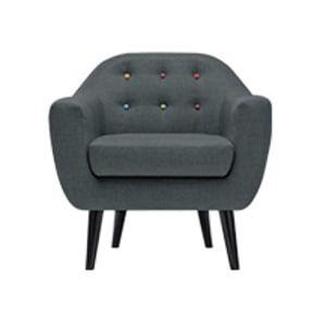 Le fauteuil Ritchie gris anthracite et boutons arc-en-ciel est une pièce d'inspiration danoise, la couleur contemporaine en extra.