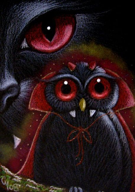 Art: HALLOWEEN BLACK CAT & OWL 11 by Artist Cyra R. Cancel