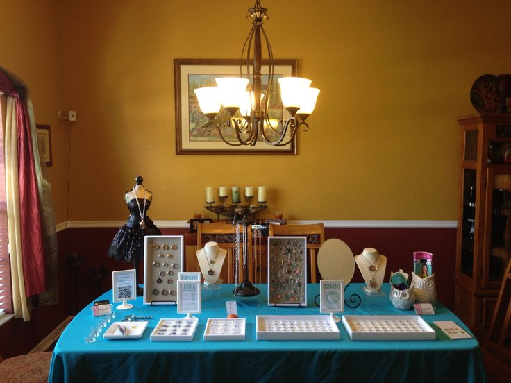 Jewelry Bar Setup Using The Hostess Dining Room Table