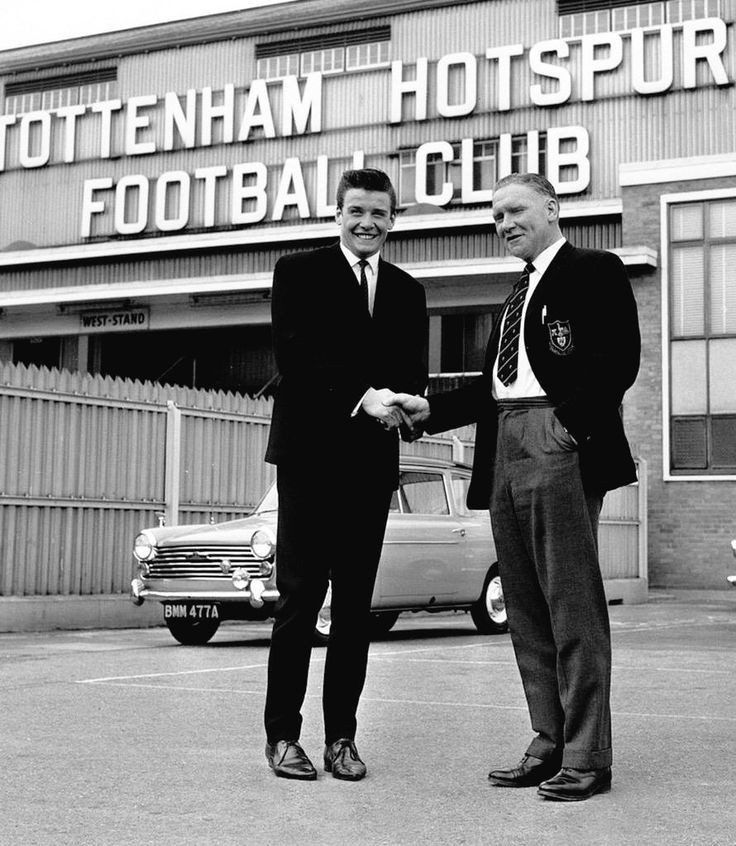 Cyril Knowles at White Hart Lane with a welcoming Bill Nicholson May 1964 he joined for a fee of £45,000