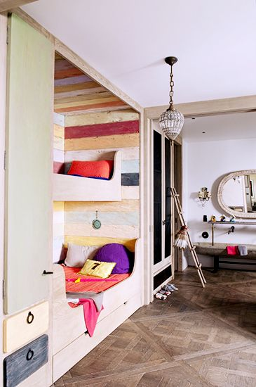 Home Tour: Rustic Modern Glamour in Paris // kids' room, children's room, bedroomChild Room, Kids Bedrooms, Bunk Beds, Kids Room, Bedrooms Interiors, Bunkroom, Bunk Room, Bunkbeds, Barns Wood