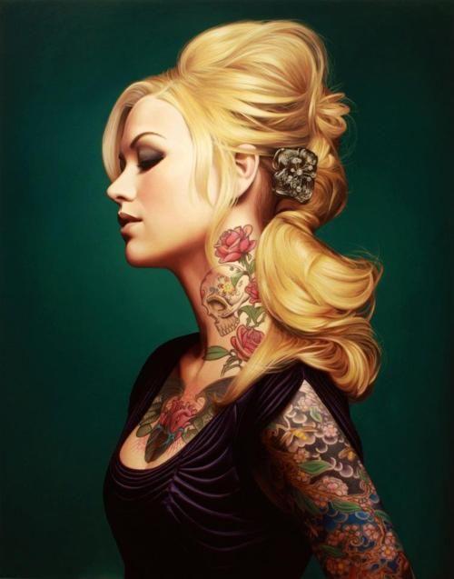 Beautiful tattoos: Cherries Blossoms, Female Tattoo, Sugar Skull Tattoo, Neck Tattoo, Hair Tattoo, Body Art, Rose Tattoo, Tattoo Girls, Tattoo Ink