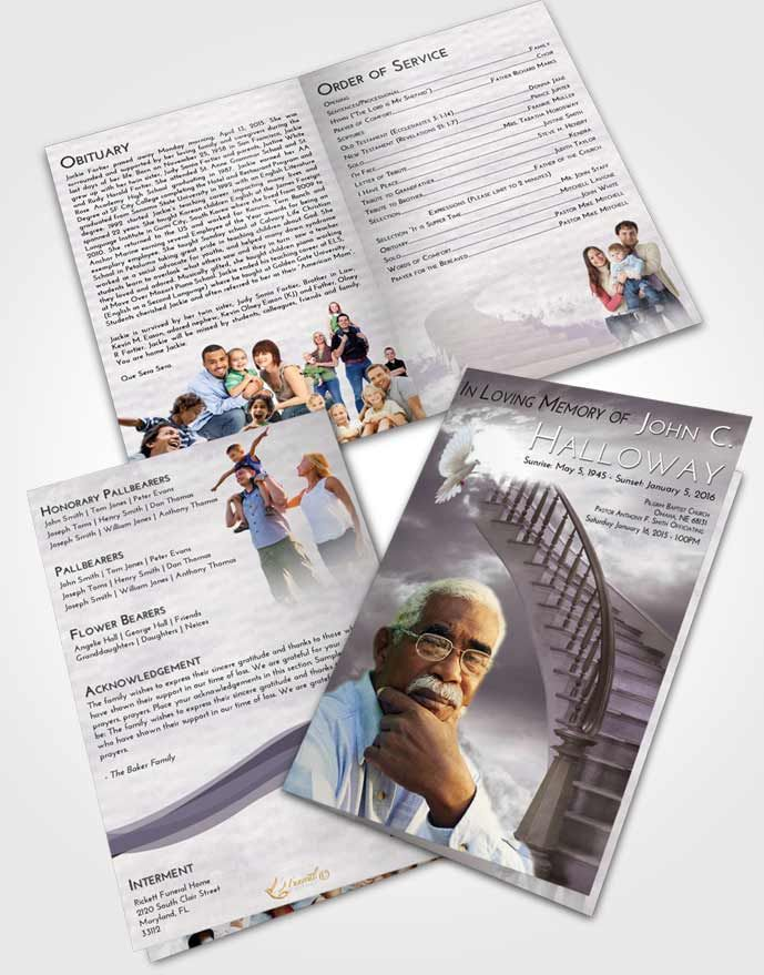 Bifold Order of Service Obituary Template Brochure Stairway