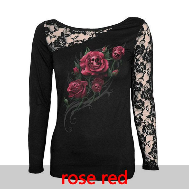 Fashion Women T-Shirt Sexy Skull Print Long Sleeve Tee Shirt Lace Patchwork Tee Tops Pullovers Black Plus Size LJ7915M