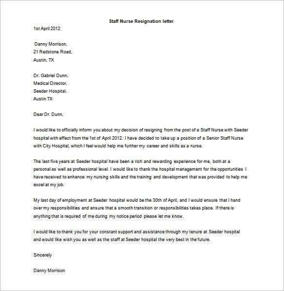 Resignation Letter Format Word Document Resignation Letter