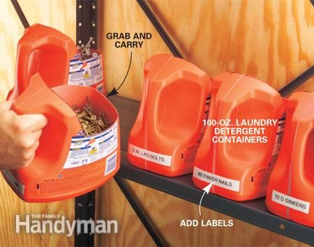 [Recycled laundry detergent containers] Portable hardware bins are easy to carry + store on a shelf