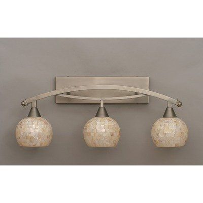 seashell bathroom lighting fixtures. off bow brushed nickel three light bath bar w/ 6 inch sea shell glass by toltec lighting. 3 shown in finish with seashell bathroom lighting fixtures -