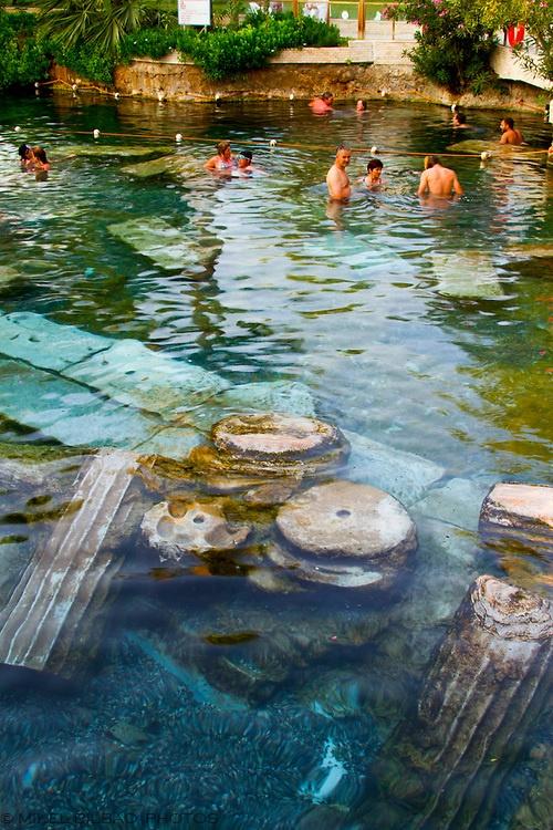 Swimming pool and tourists. Hierapolis.  Denizli province. Anatolia. Turkey.