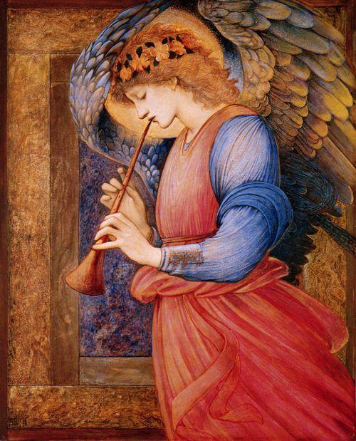 An Angel Playing a Flageolet   Edward Burne-Jones   Art ...