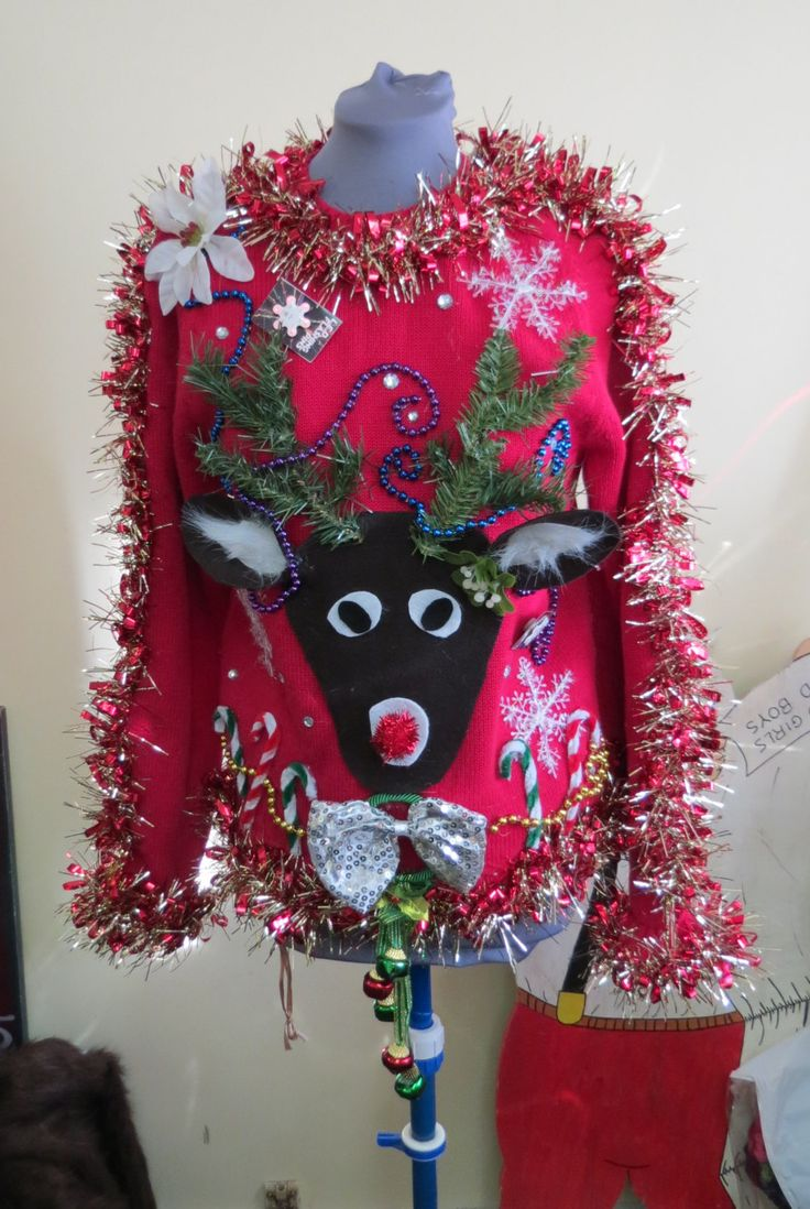 custom reindeer tacky ugly christmas sweater with wild garland light up bow tie and snowflake womens long sleeve priority shipping - Light Up Christmas Tie