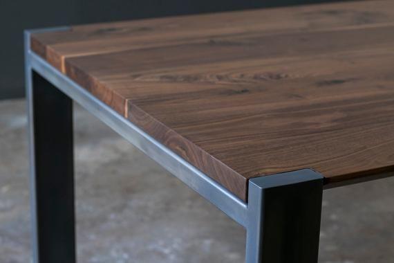 Walnut Beveled Profile Hudson Dining Table Steel Frame Custom