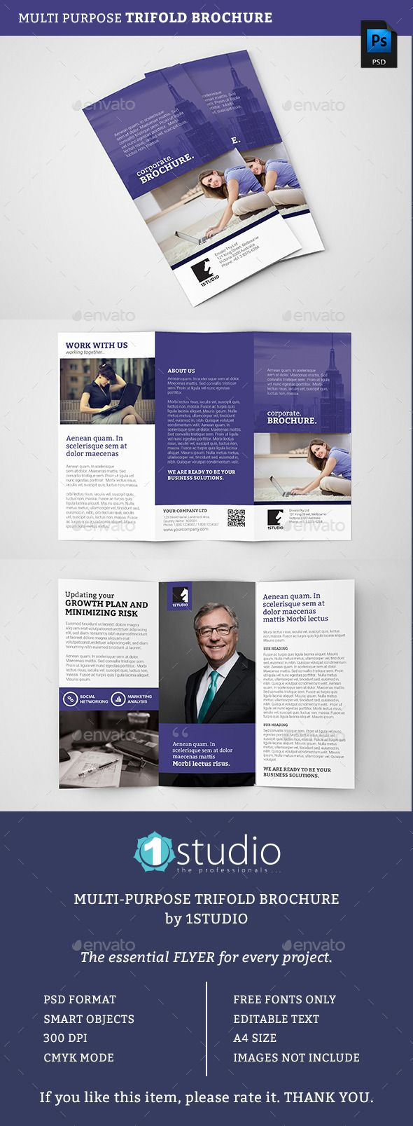 Modern Creative Corporate Trifold Brochure Template #design Download: http://graphicriver.net/item/corporate-trifold-brochure-05/12790464?ref=ksioks