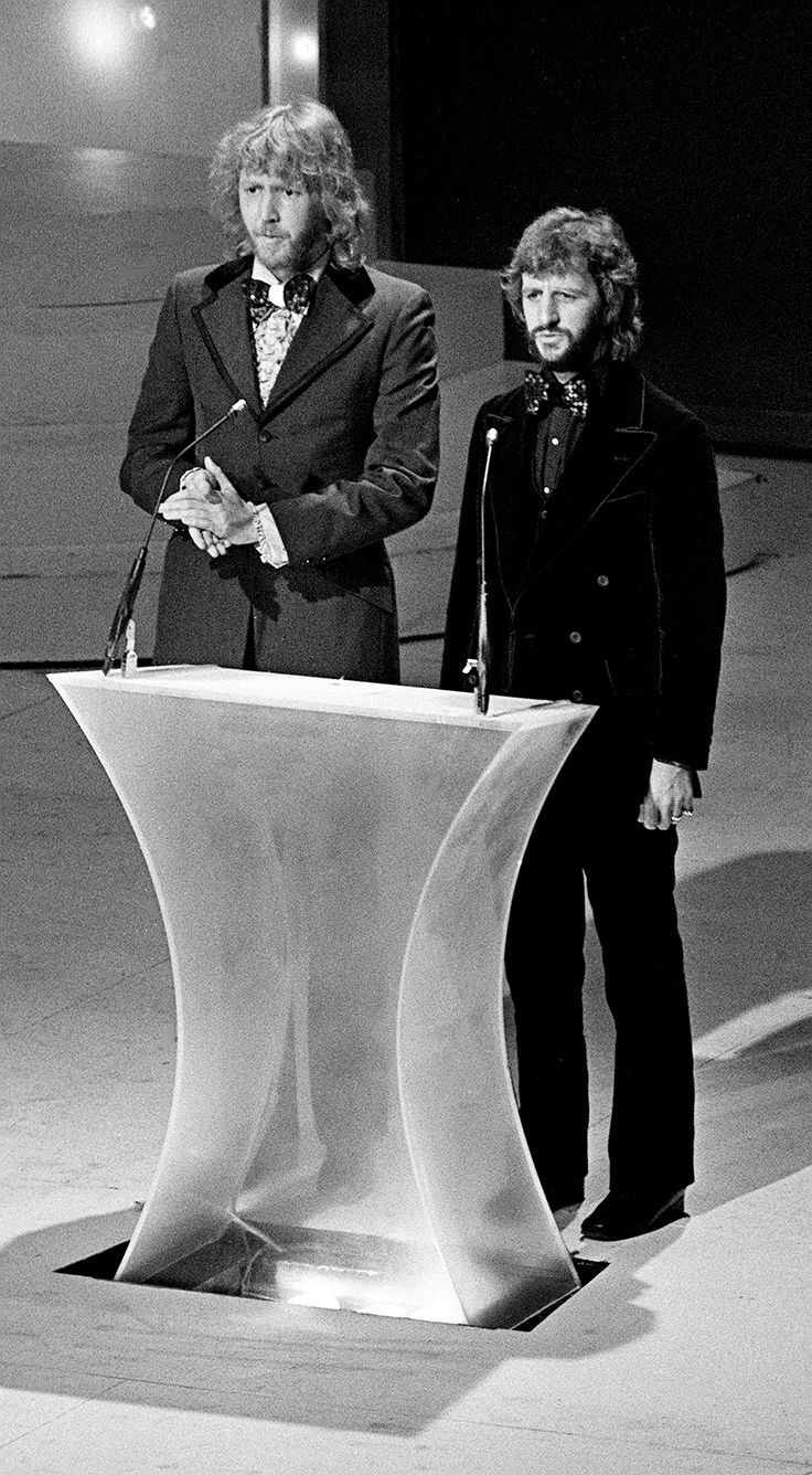 Harry Nilsson, left, and Ringo Starr are presenters during the 15th Grammy Awards show in Nashville March 3, 1973.