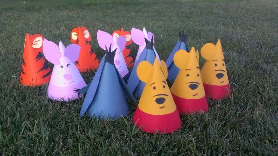 8 Winnie the Pooh Birthday Party Hats Pooh & by MagicalBoutique
