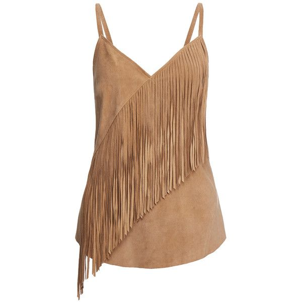 Gestuz Odelia Camel Suede Fringed Singlet ($98) ❤ liked on Polyvore featuring tops, tan, spaghetti-strap tops, gestuz, camel top, strappy top and v neck strappy top
